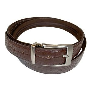 Other - Genuine Leather Brown Belt With Silver Buckle 44in